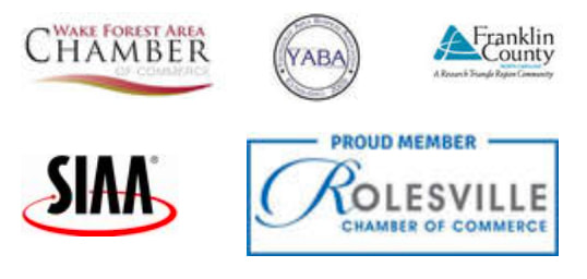 Chamber Wake Forest Area, SIAA, YABA, Roseville Chambler of Commerce, and Franklin County logos